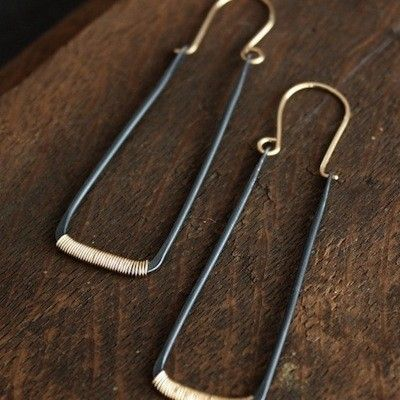 Lemonade Handmade Oxidized Sterling Silver and Gold Earrings at Rare Device