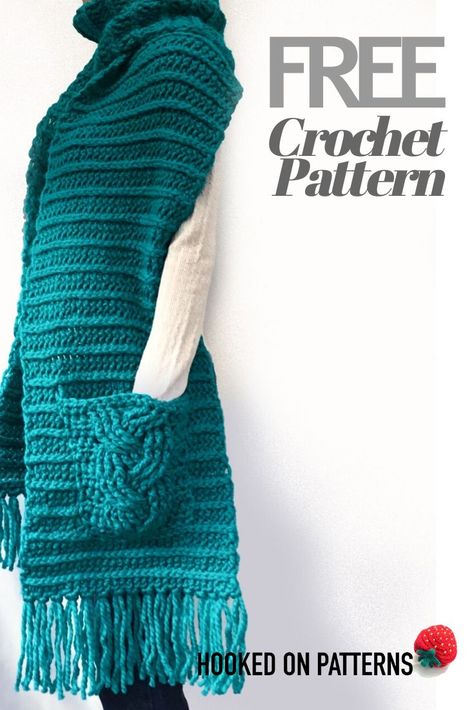 Free Crochet Pattern for a Super Chunky Scarf with Pockets One Skein Crochet, Crochet Wrap Pattern, Gilet Crochet, Crochet Scarves, Crochet Clothes, Crochet Patterns, Crochet Cowls, How To Crochet A Scarf, Free Scarf Knitting Patterns