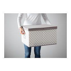 "Sweater or purse storage.  SVIRA Box with lid, gray, white flowers - gray/white flowers - 15 ¼x19x11 "" - IKEA"