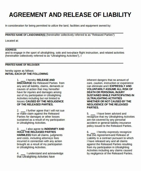 40 Liability Release Form Template In 2020
