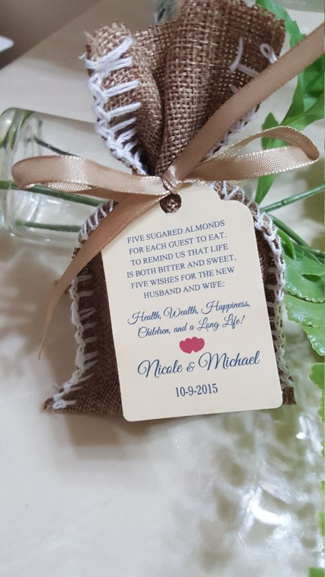 """jordan almonds, favor Tags 2.5""""L x1.8""""w, Wedding tags, Thank You tags, Favor tags, Gift tags, Bridal Shower Favor Tags, italian tradition"""