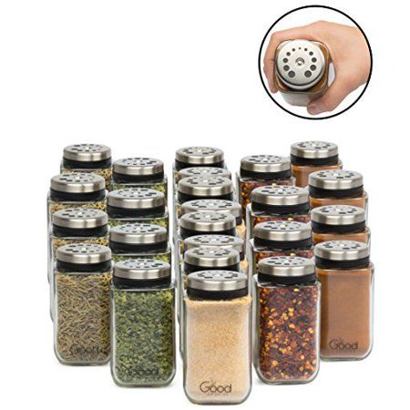Adjustable Glass Spice Jars Set Of 24 Premium Seasoning Shaker Rub Container Tins With 6 Pouring Sizes Walmart Com Glass Spice Jars Spice Jars Spice Jar Set