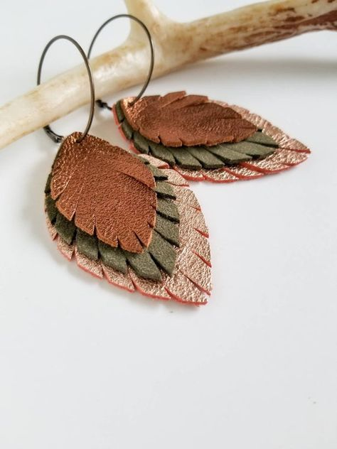 Neutral Metallics Leather Feather Earrings, Statement Earrings, Boho Leather Earrings