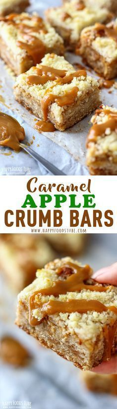 Sweeten up your day with these caramel apple crumb bars! Moist crust, topped with Dulce de Leche, apples and streusel topping. Perfect fall dessert. Caramel apple crumb bars with streusel topping. #baking #caramel #crumbbars #streuseltopping #dulcedeleche #desserts via @happyfoodstube