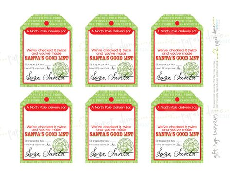 INSTANT DOWNLOAD  Santa Gift Tags | Christmas elf holiday label sticker north pole editable printabl
