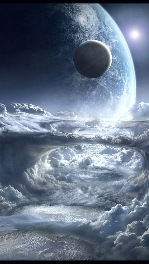 Space, white clouds, planet, fantasy, 1080x1920 wallpaper