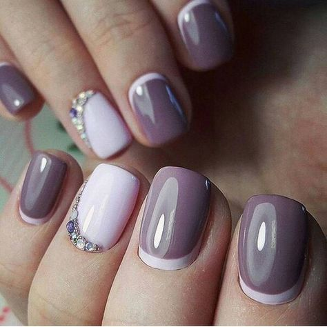 A light-plum shade of varnish combines well with gentle-purple. This manicure will suit for any season. Pay attention to the holes, each nail must look hea