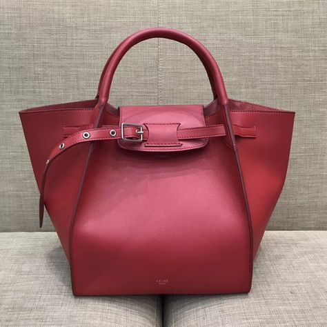 Celine Small Big Bag With Long Strap in Smooth Calfskin Red 2018