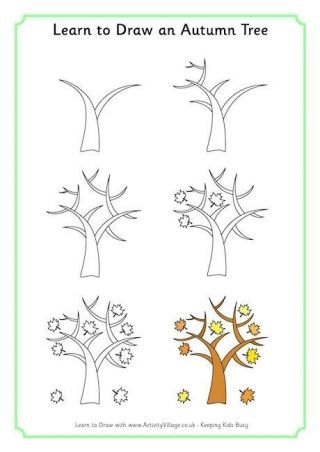 Aprende A Dibujar Un Arbol De Otono Tree Drawing Tree Art Drawings