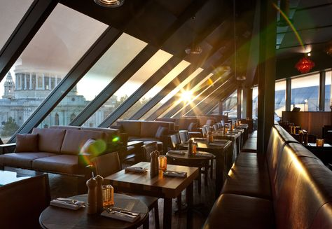 For a drink with a view, try the Madison Bar nr St Paul's. The terrace is on an eyeline with the cathedral dome and there are stunning views out across the skyline to the new Shard and London Eye. If you're looking for a drink after work, arrive before 5.30 as it gets justifiably very busy.  Much recommended