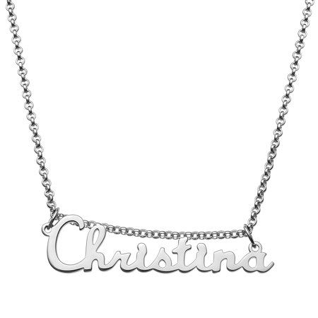 Personalized Planet Personalized Sterling Silver Or Gold Over Sterling Script Nameplate Necklace Walmart Com In 2020 Nameplate Necklace Sterling Silver Necklace Pendants Sterling Silver Name Necklace