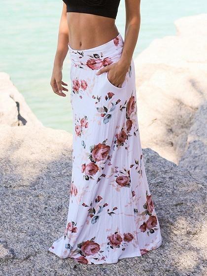 Women Summer Beach Dress Floral Casual Skirt Low Waist Long Loose Skirts Dress