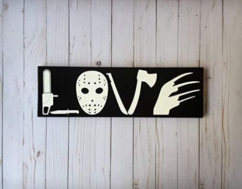wonbye Wooden Signs with Sayings, Horror Movie Love Wooden Sign, I Love Horror, Horror Movie Sign, Horror Love Sign, Scary Movie, Scary Movie Love, I Love Scary Movies Sign - 12x4