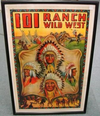 Miller 101 Ranch Wild West Show advertising poster, Native Americans