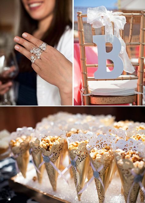 "Sparkly ""Spring Bling"" Bridal Shower - gold popcorn cones - because he popped the question!"