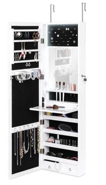 Door Wall Mount Mirror Jewelry Cabinet Armoire W Inside Mirror