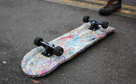 A compact press that turns plastic shopping bags into skateboards has been designed by a student at Brunel University London in a bid to tackle community litter and deforestation - and give kids a cheap new hobby.