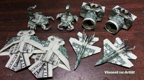 Money Origami Art - Various Designs - Dollar Bill Art