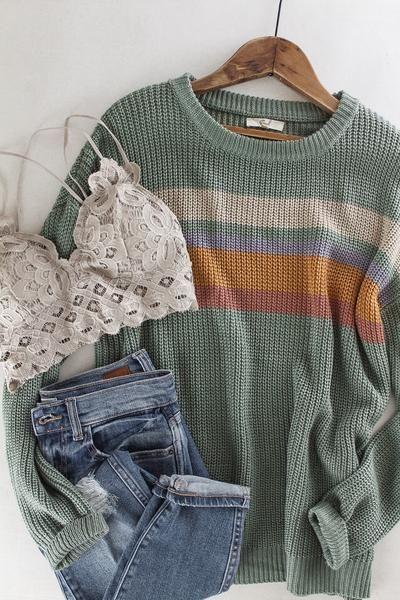 Striped Knit Sweater | Striped knit, Sweaters, Cozy fashion