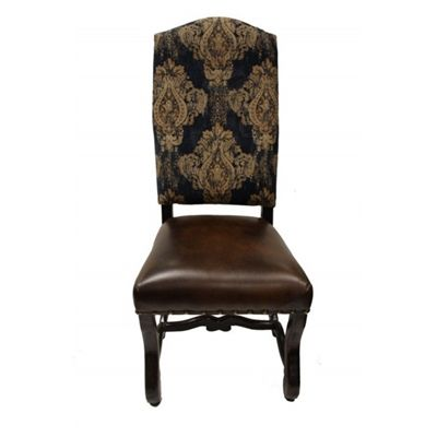 Madelyn Fabric Leather Old World Dining Chair Com Imagens