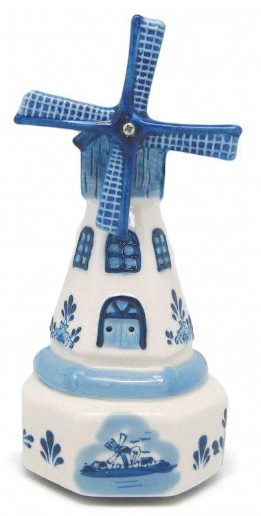 Dutch Ceramic Delft Windmill Music Box Tulip Amsterdam