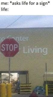 When Sign Also Starts To Say Stop Living Stupid Memes Dankest Memes Funny Memes