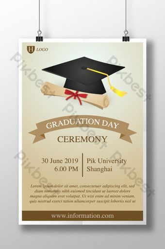 Graduation Ceremony Poster Invitation Template With Cap And