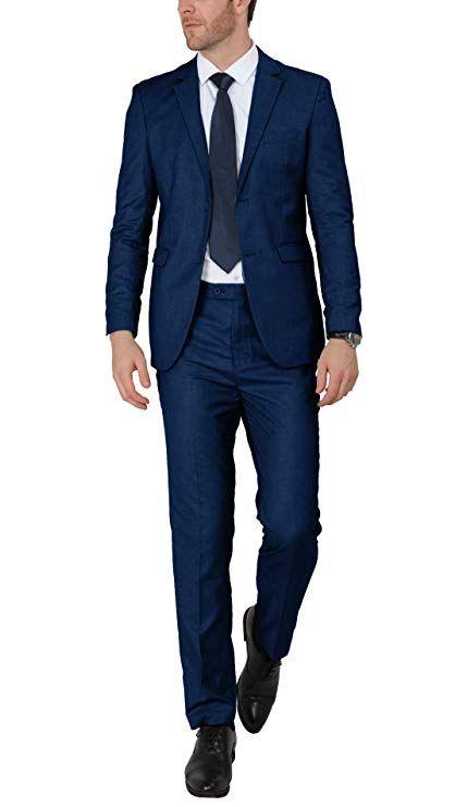 WEEN CHARM Mens Suits One Button Slim Fit 2-Piece Suit Blazer Jacket Pants Set