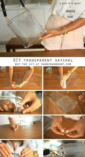 Diy transparent satchel i just have to find out where i can buy thick pvc p Diy Clutch, Diy Purse, Diy Bags Purses, Purses And Handbags, Clear Handbags, Transparent Bag, Diy Handbag, Clear Bags, Beaded Bags