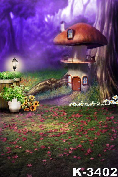 4X6FT-Childrens Pictorial Cartoon Design Photography Backdrops Mushroom photo Studio Background