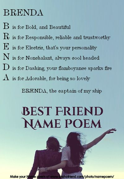 Acrostic Best Friend Name Poem Acrostic Best Friend Poem For Your Name Brenda The Captain Of My Ship Friend Poems Acrostic Friendship Quotes In Hindi