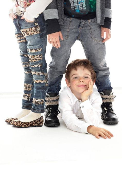 Leopard Print Detail Jeans, $265; alexandalexa.com. T-shirt, $275; Little Angel (646-472-9546)  Button Down Shirt, $134; childrensalon.com  Jeans, $275; Piccolo Mondo (718-261-6771). Rally T-shirt, $150; tuesdayschild.com. Jacket, $230; Oxygene (305-868-4499)   - ELLE.com