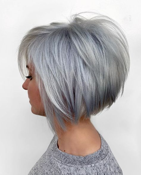 Likes, 76 Comments - Julie Holbrook Short Grey Hair, Short Hair With Layers, Short Hair Cuts For Women, Short Hairstyles For Women, Short Hair Styles, Cool Hairstyles, Stacked Bob Hairstyles, Short Stacked Bob Haircuts, Short Bob Cuts