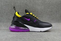 Women's Nike Air Max 270 Black Purple Yellow Running Shoes