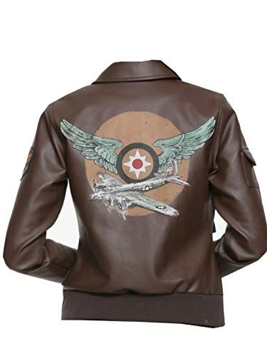 Marvel Captain Marvel Cosplay Faux Leather Aviator Jacket Brown At