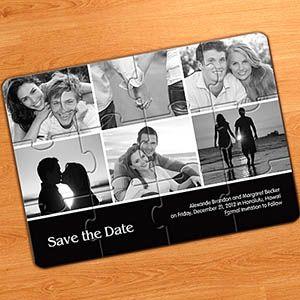 Ihre Bilder und Ihre Botschaft als Einladung Puzzle gestalten ab nur €1,32           Rechteckiges Puzzle aus 12 Teilen, hochglanzlaminierter Karton, Maße: 12,7 cm x 17,8 cm.          Die nicht zusammengesetzten Teile sind in einer durchsichtigen Plastikhülle verpackt.          Mindestabnahmemenge: 1 Stück. Einschließlich Aufbewahrungshülle. Maße der Hülle: 13,34 cm x 18,42 cm  http://www.printerstudio.de/machen/einladungkollagepuzzle6fotosschwarzations.html