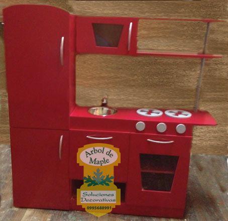 Módulo De Cocina En Madera Para Niños Incluye Refrigeradora
