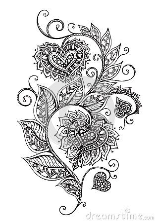 Pattern Of Zentangle Hearts Stock Vector - Image: 65483805 Flower Doodles, Body Art Tattoos, Heart Doodle, Henna Tattoo, Paisley Tattoo, Heart Tattoo Designs, Zentangle, Henna Drawings, Zentangle Patterns