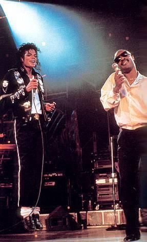 """Stevie Wonder and Michael Jackson performing together singing """"just good friends"""" 88 or 89. This shows Stevie Wonder's respect n the music industry ;)  