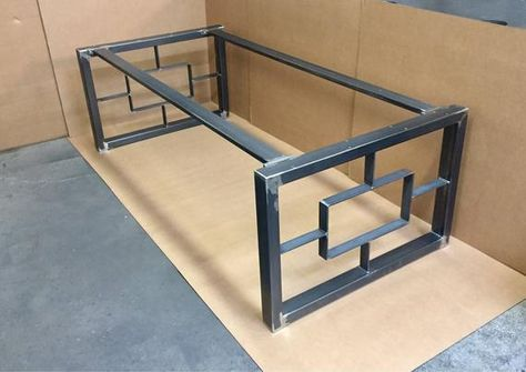 Modern Square-Rectangular Dining Table Base, Super Heavy Duty Base, Set of 2 Steel Legs With 2 Cross Braces
