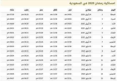 مواقيت الصلاة في شهر رمضان 2020 في السعودية 1441 موسوعة Prayer Times Prayers Ramadan