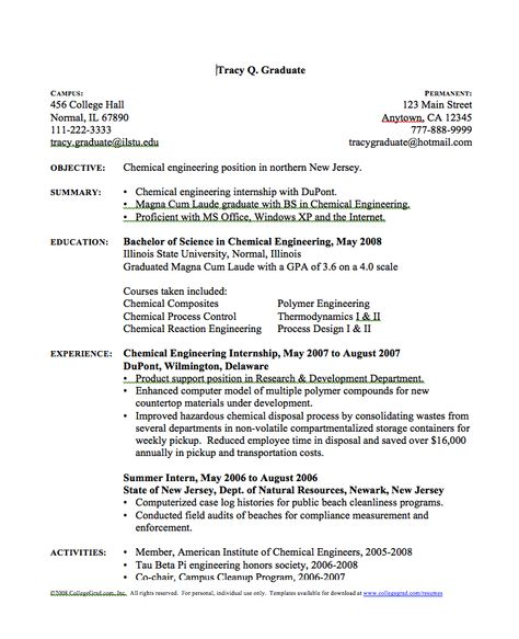 Chemical Engineer Resume - http\/\/resumesdesign\/chemical - objective for engineering resume