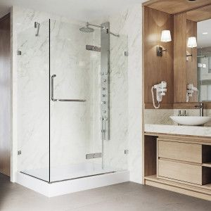 Vigo Monteray Frameless Shower Enclosure With Right Drain Base Click The Picture To Ge Corner Shower Enclosures Glass Shower Enclosures Neo Angle Shower Doors