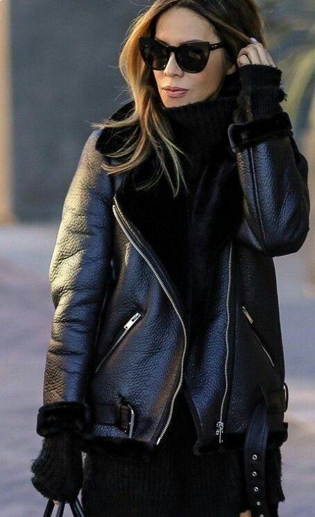 5dc26461c New black faux leather aviator shearling warm women winter coat ...