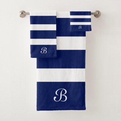 Navy Blue White Stripes Monogram Bath Towel Set Zazzle Com