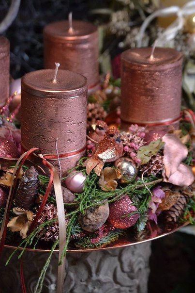 Bronze Altrosa Adventskranz Mehr Rustikaleweihnachtentischdeko Deko Weihnachten Advent Weihnachtstischschmuck Weihnachtskerzen