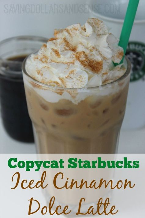 This Copycat Starbucks Iced Cinnamon Dolce Latte is the perfect cool treat for these how summer days!