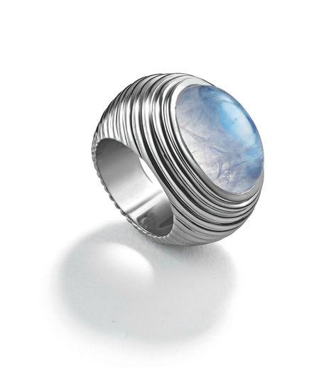 Suzanne Belperron Bibendum Ring, Moonstone and Gray Gold