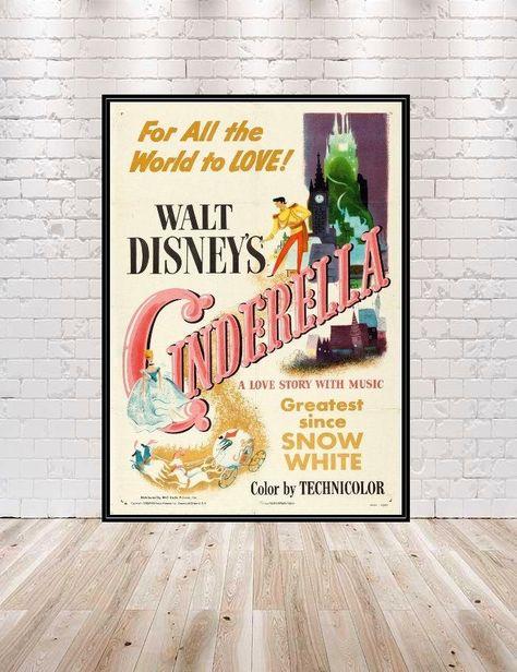 Cinderella Poster Vintage Disney Movie Poster Classic Cinderella Movie Poster Disney Poster Attraction Poster Disneyland Disney World - 24 x 36 / Gloss