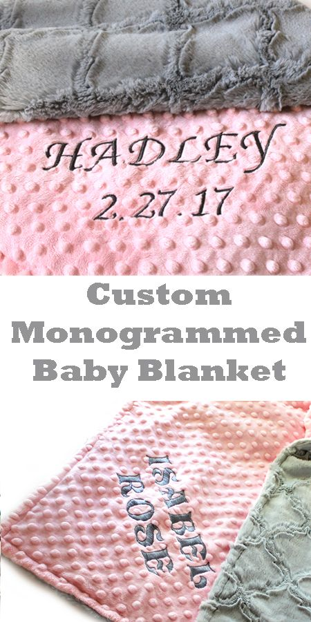 Personalised embroidered BABY BLANKET 4 colours Soft New Baby Gift